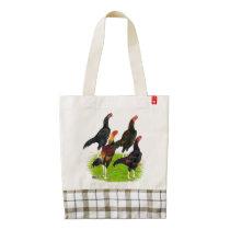 Oriental Game Fowl Quartet Zazzle HEART Tote Bag