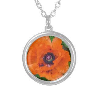 Oriental Garden Poppy Silver Plated Necklace