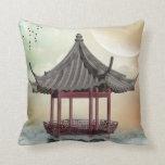 Oriental Gazebo Throw Pillow
