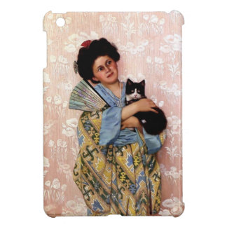 Oriental Girl with a Pet Cat iPad Mini Cover