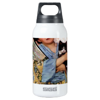 Oriental Girl with a Pet Cat 10 Oz Insulated SIGG Thermos Water Bottle