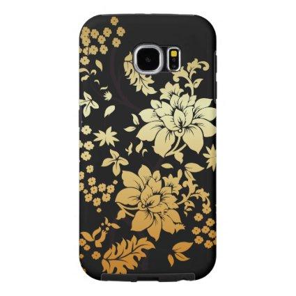 Oriental Golden Flowers on Black