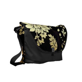 Oriental Golden Flowers on Black Messenger Bag
