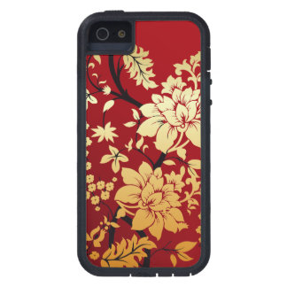 Oriental Golden Flowers on Red Case For iPhone SE/5/5s