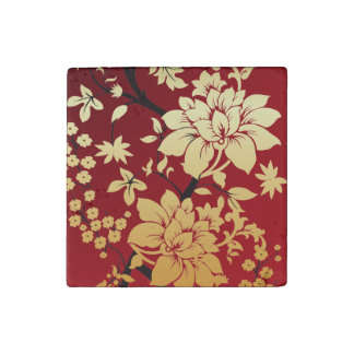 Oriental Golden Flowers on Red Stone Magnet