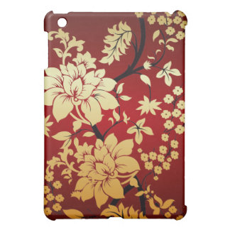 Oriental Golden Flowers on Red iPad Mini Cover