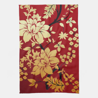 Oriental Golden Flowers on Red Kitchen Towel