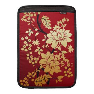 Oriental Golden Flowers on Red MacBook Sleeve