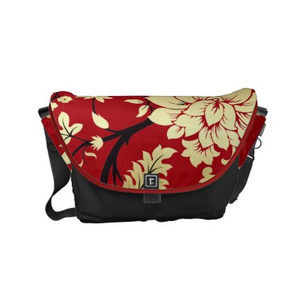 Oriental Golden Flowers on Red Messenger Bag