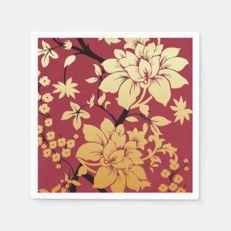 Oriental Golden Flowers on Red Napkin
