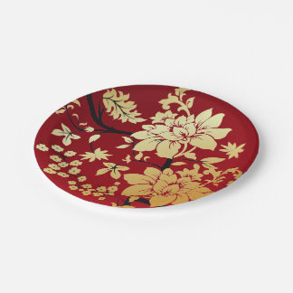Oriental Golden Flowers on Red Paper Plate