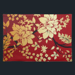 """Oriental Golden Flowers on Red Placemat<br><div class=""""desc"""">Stunning and elegant, this floral design features golden flowers and leaves with black branches on a radiant red background in an oriental style. Available with different colored backgrounds and we accept custom requests for different color combinations. Contact us via our store with your request prior to purchase and we will...</div>"""