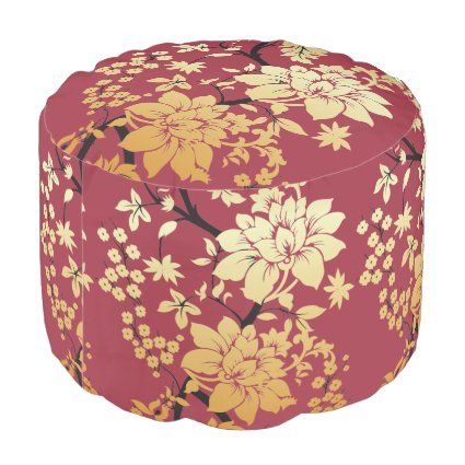 Oriental Golden Flowers on Red Round Pouf