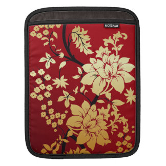 Oriental Golden Flowers on Red Sleeve For iPads