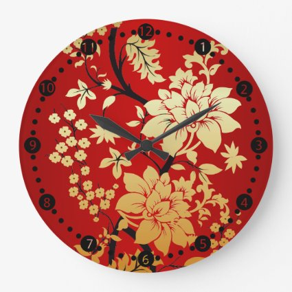 Oriental Golden Flowers on Red Wallclock