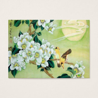Oriental Green With White Flowers Business Card