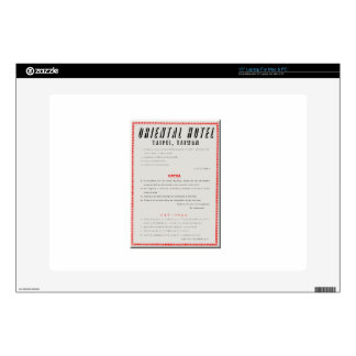 """Oriental Hotel Rules 15"""" Laptop Decal"""