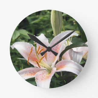 Oriental Hybrid Lily in White Peach and Pink Round Clock