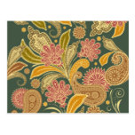 Oriental Iranian Paisley - Green Yellow Red Postcard