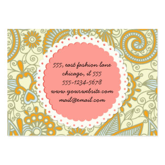 Oriental Iranian Paisley, Swirls - Blue Orange Business Card Template