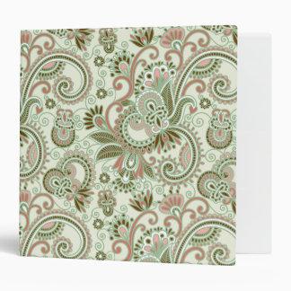 Oriental Iranian Paisley, Swirls - Green Pink 3 Ring Binder