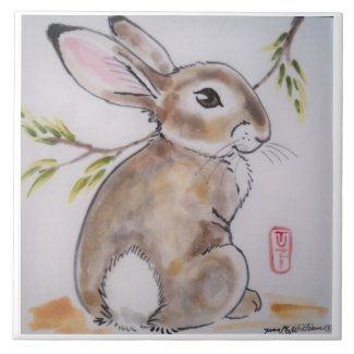 Oriental/Japanese design bunny rabbit tile/trivet Ceramic Tile