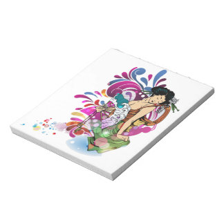 Oriental Japanese Geisha Girl pretty deco floral Note Pads