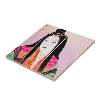 Oriental japanese kabuki actor beautiful lady art ceramic tile