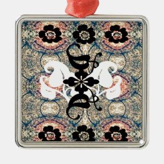Oriental.jpg Square Metal Christmas Ornament