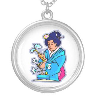 Oriental Lady Tending Flowering Bonsai Blue Round Pendant Necklace