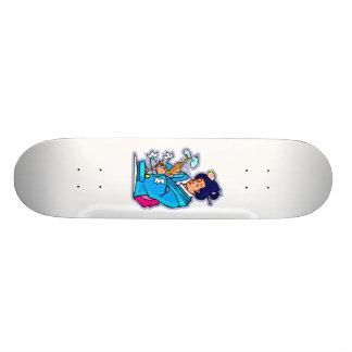 Oriental Lady Tending Flowering Bonsai Blue Skateboard Deck