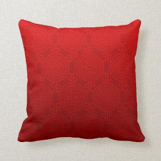 Oriental Long Life Symbol jacquard | red Throw Pillow