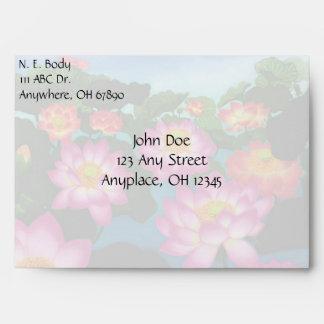 Oriental Lotus Flowers Envelope