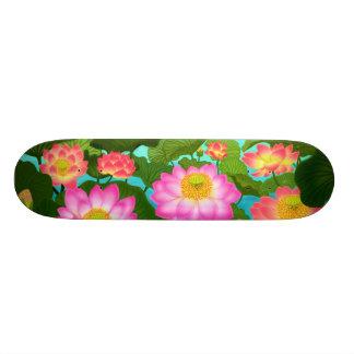 Oriental Lotus Flowers Skateboard