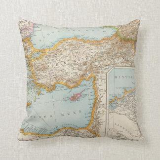 Oriental Mediterranean Map Throw Pillow