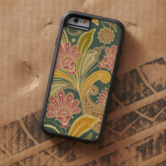 Oriental Motif, Paisley Design - Green Yellow Red Tough Xtreme iPhone 6 Case