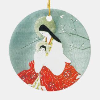 Oriental nativity scene, Mary and Jesus Ceramic Ornament