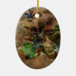 oriental old paper flower brown green floral Double-Sided oval ceramic christmas ornament