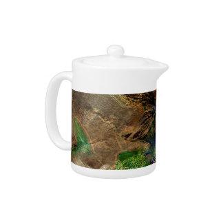 oriental old paper flower brown green floral teapot