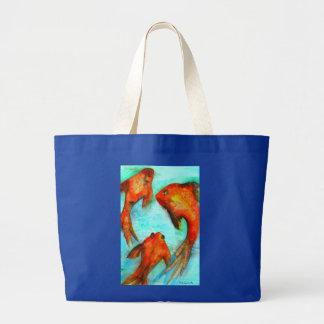 Oriental orange goldfish watercolor original art large tote bag