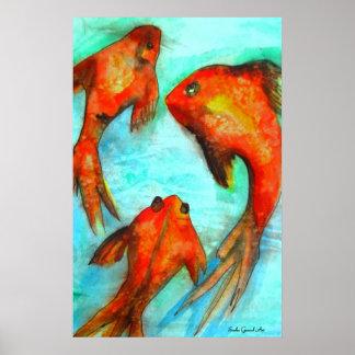 Oriental orange goldfish watercolor original art print