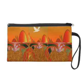 Oriental Orange White Bird Bagettes Bag