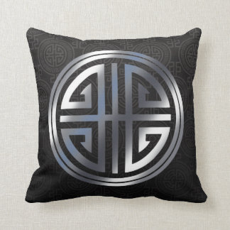 Oriental Ornamental Long Life Symbol black silver Throw Pillow