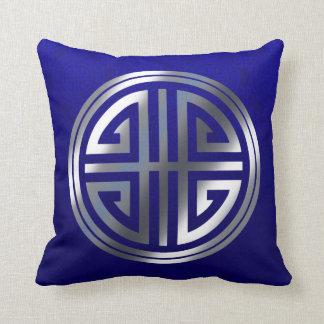 Oriental Ornamental Long Life Symbol cobalt silver Throw Pillow