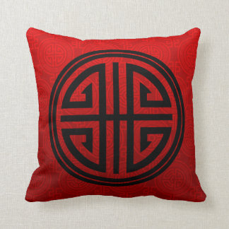Oriental Ornamental Long Life Symbol | red black Throw Pillow