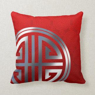 Oriental Ornamental Long Life Symbol | red silver Throw Pillow