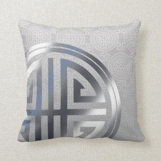 Oriental Ornamental Long Life Symbol silver gray Throw Pillow