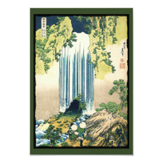 Oriental Painting Waterfall Above Shack 3.5x5 Paper Invitation Card
