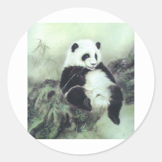 Oriental Panda Classic Round Sticker