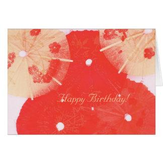 Oriental paper cocktail umbrellas happy birthday card